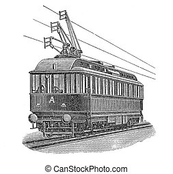 Vintage engraving, electric tramway - Print from the late...