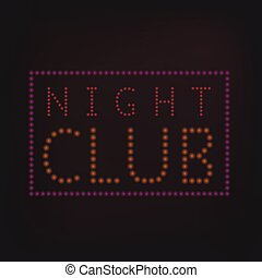 Night Club banner - Yellow night neon lights sign banner...
