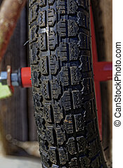 rubber wheel - front rubber wheel on a red rim