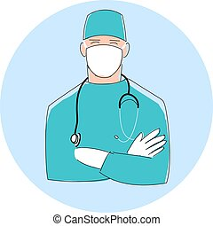 Doctor in mask. Male surgeon. Flat style design illustration...