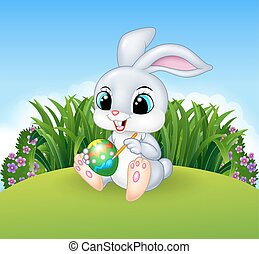 Cartoon Easter Bunny painting - Vector illustration of...