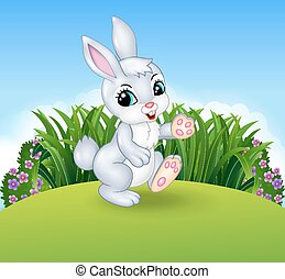 Cartoon little bunny walking - Vector illustration of...