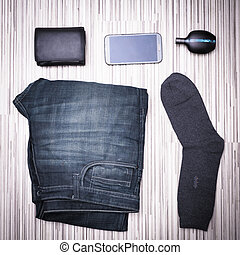 Set of modern young man - jeans, wallet, mobile phone,...