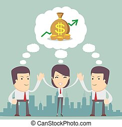 Vector illustration of men working in a team - Businessmen...