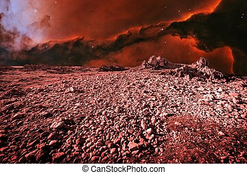 Alien landscape and Eagle Nebula (Elements of this image...