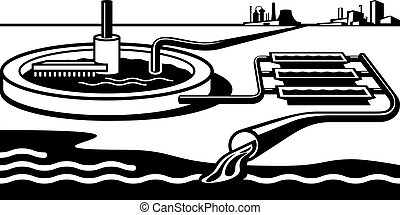 Water treatment plant - vector illustration
