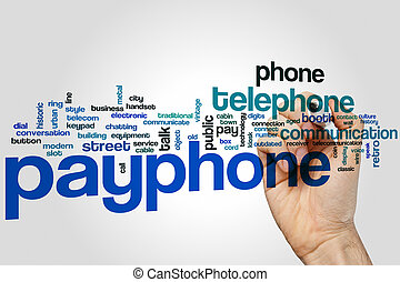 Payphone word cloud concept with telephone communication...