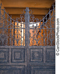 Metal gate - Old metal gate and security closed entrance...