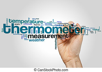 Thermometer word cloud concept with temperature measurement...