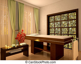 3d illustration of nice massage room in spa salon