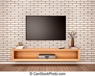 3d illustration of Flat TV with pedestal in the interior