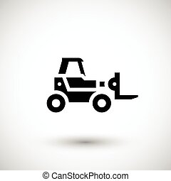 Forklift telescopic loader icon isolated on grey Vector...