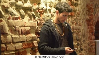 Handsome trendy man talkiing on cell phone - Handsome trendy...