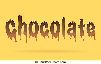 Abstract Creative concept vector chocolate text for Web and Mobile Applications isolated on yellow background, art illustration template design, business infographic, social media, banner, poster