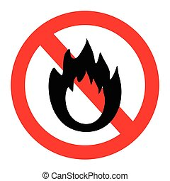 No Fire sign. Prohibition open flame symbol. Red icon on...