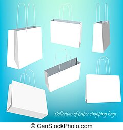 Creative concept vector set of empty shopping bag isolated on white background. Vector illustration creative template design, Business software and social media