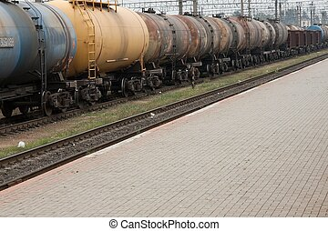 Train - Oil transporting freight train wagons