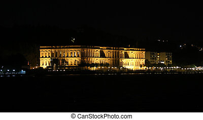 Ciragan Palace in Istanbul City - Ciragan Palace at night in...