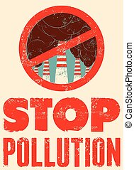 Stop Pollution sign with smokestacks. Environmental...