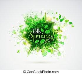 Hello Spring Season banner with fresh green leaves