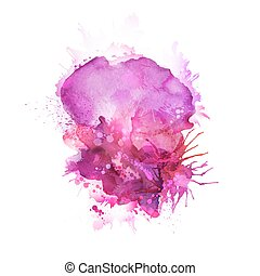 pink blots - Abstract artistic element forming by watercolor...