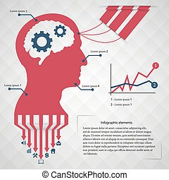 Abstract creative concept vector head siluet with gears For...