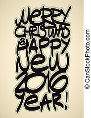 Christmas congratulations 2016 Calligraphic vector...