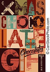 Typographical vintage Christmas Chocolate Gift poster...