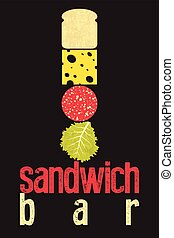 Typographic retro grunge poster for sandwich bar Bread,...