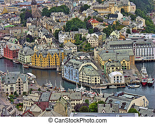 Alesund, Norway - A Cloudy Day in the Alesund Summer, Norway