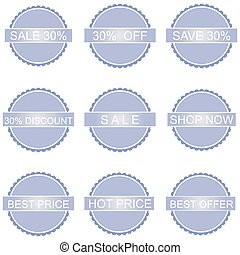 big set of vector price tags