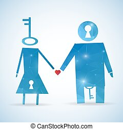 Abstract Creative concept vector unusual lovely couple silhouette of a man and a woman isolated on white background. For Web and Mobile Applications, Illustration template design, business infographic.