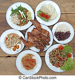 famous north east Thai food, papaya salad or som-tam sliced...