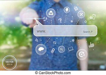 Abstract creative concept vector image of man touching future technology social network button. Digital touch screen of icon for web, mobile application, iIllustration template, business infographic.
