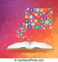 Abstract creative concept vector siluet hands of icons. For...