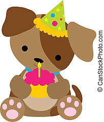 Puppy Birthday - A cute little puppy holding a cupcake with...