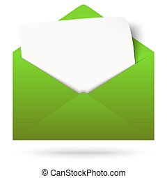 Envelope with notepad - green envelope opened with empty...