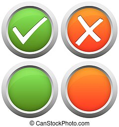 YES and NO buttons - round colored YES and NO buttons with...