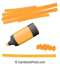 highlighter with markings - orange colored high lighter with...