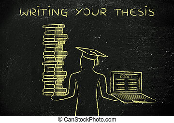 Writing your thesis, graduate holding books and laptop with...