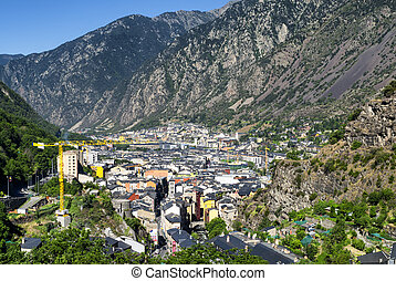 View of Andorra la Vella - Panoramic view of Andorra la...