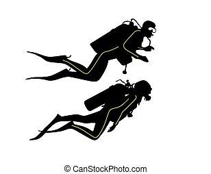 diver - two divers swim in the sea