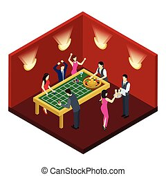Roulette Isometric Illustration - Roulette and gambling with...