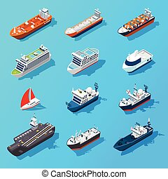 Ships Boats Vessels Isometric Icon Set - Ships motorboats...