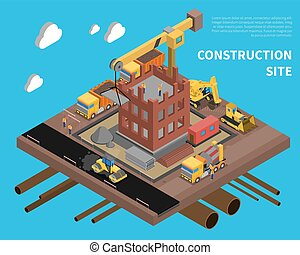 Construction Site Illustration - Construction site with...