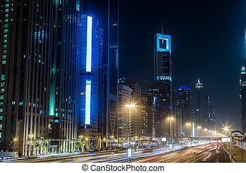 Dubai Dowtown at ngiht, United Arab Emirates - Modern...