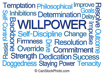 Willpower Word Cloud on White Background
