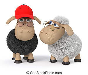 3d ridiculous sheep wearing spectacles - mutual relation...
