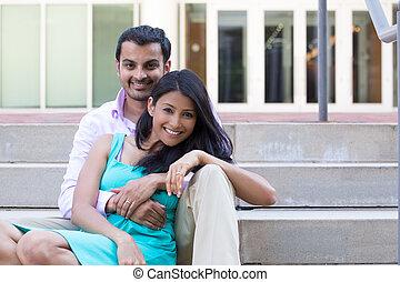 Happy couple - Closeup portrait, attractive wealthy...