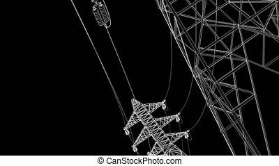 Power lines on black background - Stylized detailed...